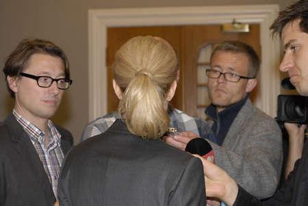 polictis: DENMARK  COPENHAGEN _ Ms.Helle Thorning-Schmidt denmarks female prime minister answer to danish reporter after half day live parliament debate today at christiansborg (folketinget) 6 Sept. 2011       Editorial