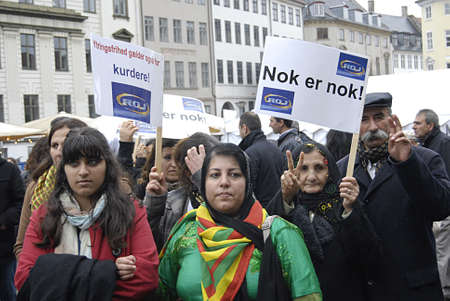 roj: DENMARK_COPENHAGEN .Kurdish immigrant living in Denmark staged protest rally against Turkey treating their fellow member comnmunity and family members and against Nato that Roj Tlevsiion been banded  on resquest of turkish government, Kurds staged proetst