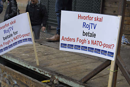 DENMARK_COPENHAGEN .Kurdish immigrant living in Denmark staged protest rally against Turkey treating their fellow member comnmunity and family members and against Nato that Roj Tlevsiion been banded  on resquest of turkish government, Kurds staged proetst