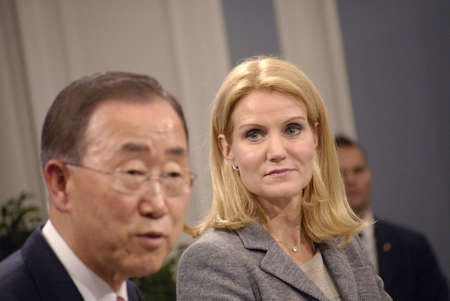 ki: DENMARK  COPENHAGEN _Danish prime minister Ms.Helle Thorning-Schmidt and united national general secretary Ban Ki Moon hold joint press confernce at Mirror Hall at Prime minister office at Christiansborg, General secretary Ban Ki Moon visiting  the Globa