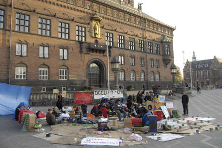 conection: DENMARK  COPENHAGEN _ Few danes have Occupied Infront of Copenhagen City Hall in conection sympthaized with United States Occupy Wall Street 17 Oct. 2011