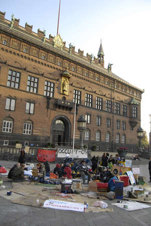 occupy wall street: DENMARK  COPENHAGEN _ Few danes have Occupied Infront of Copenhagen City Hall in conection sympthaized with United States Occupy Wall Street 17 Oct. 2011