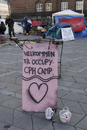 occupy wall street: DENMARK  COPENHAGEN _5th day  Few danes have Occupied Infront of Copenhagen City Hall in conection sympthaized with United States Occupy Wall Street 19 Oct. 2011