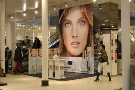 DENMARK  COPENHAGEN _  Billboard of Estee lauder american parfume products at Magasin du Nord 24 Oct. 2011