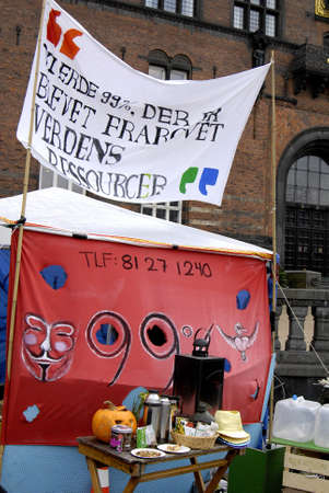 DENMARK  COPENHAGEN _ Danes are show less less interest for sympathing with Occupy  Wall Street  few day police removed tents from City hall Sq. nw City Hall has given them promission to stay at city hall sq. there are only 2 tents remain atCopenhagen  C