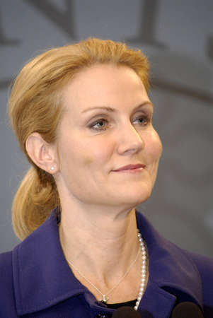DENMARK  COPENHAGEN _ Ms.Helle Thorning-Schmdit  new danish prime minister holds her first solo press conference at Mirror Hall prime minister office building at Christiansborg 25 Oct. 2011