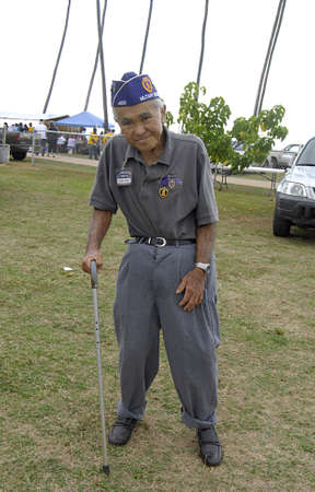 KAUAII  HAWAII USA   . Howard Tengan purple heart winneer 80 years old wwwii veteeran at Veteran day celebration 5 Nov. 2011