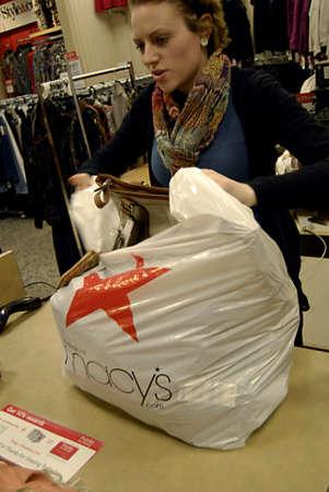 USA/IDAHO STATE/ LEWISTON _ Christmas shopper sat   Macy,S tdopay on tudesday on 29 Nov. 2011          Stock Photo - 11336472