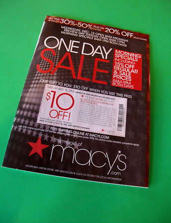 macys: USAIDAHO STATE LEWISTON _ One day sale print commemrcial from Macys 8 Dec. 2011       Editorial