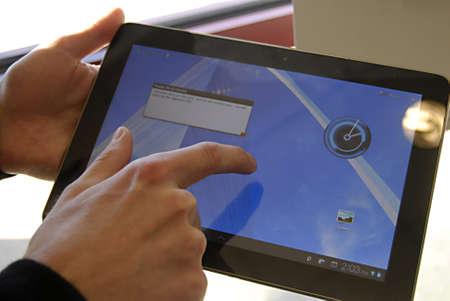 USA/IDAHO STATE/ LEWISTON _ Samsung Galaxy tab on display for sale at Sprint wireless phone store 21 Dec. 2011    Stock Photo - 11594088