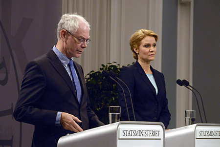 presidency: DENMARK  COPENHAGEN _ Denmark prime minister Ms.Helle Thorning-Schmidt welcome Mr.Herman Van Rompuy President of European Union Council  at Pm office and hold political talk about danish Presidency of the Council of European Union and hold joint press co