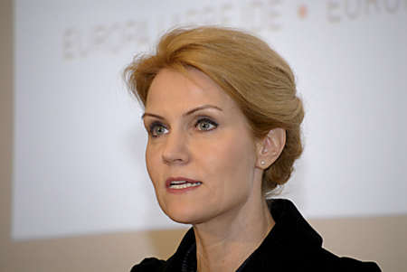 helle thorning schmidt: DENMARK  COPENHAGEN _ Danish prime minister Helle thorning -Schmidt  minister for foreign affair Mr.Villy Soevndal minister for Economy and minister for home affairs Ms.Margrethe Vestager and last minister for European union affairs Nicolaii Wammen at jo