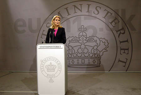 DENMARK  COPENHAGEN _Ms.Helle Thorning_Schmidt, dqnish first female prime minister holds Danish presidency of the council of the European Union Commission holds  her weekly press meeting at Christiansborg Mirrior Hall priem minister office building today