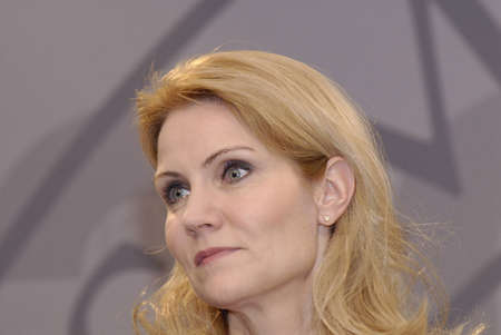 helle thorning schmidt: DENMARK  COPENHAGEN _Ms.Helle Thorning_Schmidt, dqnish first female prime minister holds Danish presidency of the council of the European Union Commission holds  her weekly press meeting at Christiansborg Mirrior Hall priem minister office building today Editorial