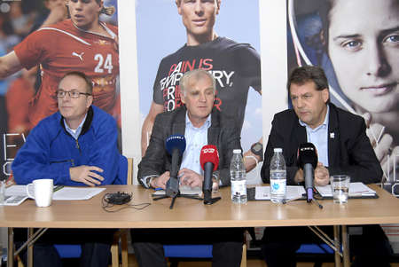 sev: DENMARK  COPENHAGEN _  Denmarks olympic committee holds press conference fromright in Pictures  OLELITECHIEF Jesper Frigast Larsen (C) DIPs chiarman Niels Nygaard and from Team Denmark director  Micheal Andersen at (R)they high light thy have goal sev