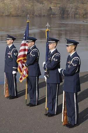 anthem: USAIDAHO STATE LEWISTON _ Remember Pearl Habor december 7, 1941 USS Oklahoma 70th Anniversry memorial ceremony 11.00 am present color fairchild afb color guard national anthem lhs gold voices-mr gemberling fly over F15s mountain home afb 366 fighter wi