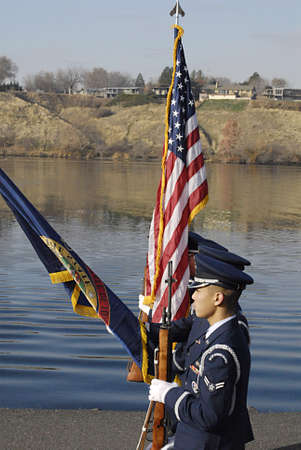 eldlery: USAIDAHO STATE LEWISTON _ Remember Pearl Habor december 7, 1941 USS Oklahoma 70th Anniversry memorial ceremony 11.00 am present color fairchild afb color guard national anthem lhs gold voices-mr gemberling fly over F15s mountain home afb 366 fighter wi