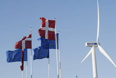 vestas: DENMARK  COPENHAGEN _  Danish wind turbines industry Vestas turbine danish flag   and european union flags at bella Center 2 Febuary 2012