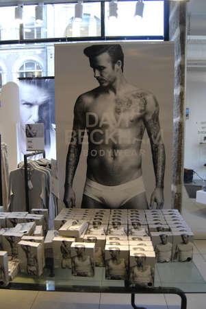 hm: DENMARK  COPENHAGEN _  David Beckham model  body wear for H&M (Hennes & Mauritsz )billboad at H&M store 3 Febuary 2012