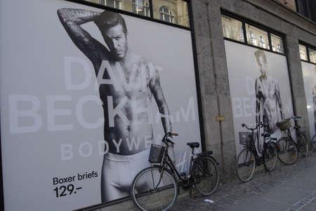 hm: DENMARK  COPENHAGEN _  David Beckham model  body wear for H&M (Hennes & Mauritsz )billboad at H&M store 3 Febuary 2012     Editorial