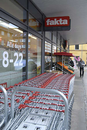 shopping carts: KASTRUPCOPENHAGENDENMARK _ Faktas store shopping carts are parked outside the store 10 March 2012