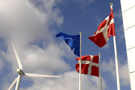 vestas: COPENHAGENDENMARK _  Vestas wind tribune , dannebog danish flag and euopean union flag fly at Bella Center 30 March 2012
