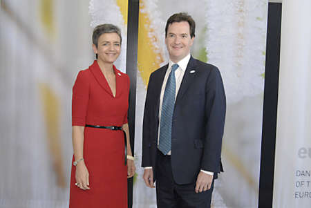 COPENHAGENDENMARK _Danish minister for Economy and Interioal Ms.Margrethe Vestager welcomes(recieved) british counter part George Osborne The Chancellor of the Exchequer United Kindom at ECOFIN-Informal meeting of the minister of Finance dur danish danis