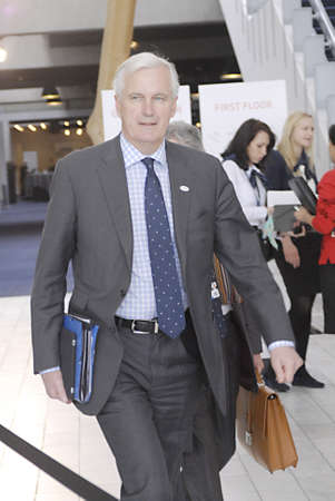 commissioner: COPENHAGENDENMARK _ French man Michel Barier European Commissioner for Finance hold press conference for media at ECOFIN_informalmeeting of ministers of Fiance  in Bella Center toray on friday 31 March 2012