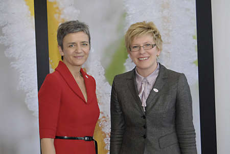 danmark: COPENHAGENDENMARK _Ms.Margrethe Vestager minister for economy and interior gtreets Inrida Simonyte minister for finance from Lithuania at ECOFIN-informal meeting of the minister of Finance during danish presidentcy of the council of the european union at Editorial