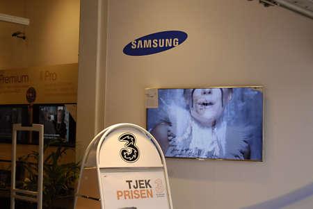 samsung: COPENHAGENDENMARK _ Samsung samart televsion at displace at Fona store 22 April 2012        Editorial