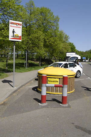 HIGHWAY/GERMANY _ German rest area treash containers  on highs 1 May 2012        Stock Photo - 13491395