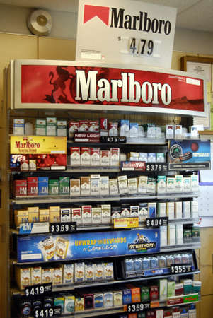 LEWISTONIDAHO STATEUSA _American cigarettte marlboro and other cigarettes brand on desk sale in gas station 13 May 2012       Editorial