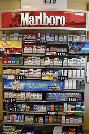 LEWISTONIDAHO STATEUSA _American cigarettte marlboro and other cigarettes brand on desk sale in gas station 13 May 2012
