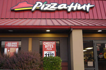 polictis: CLARKSTONWASHINGTON STATE USA _Pizza  food enu at Pizza Hut 17 May 2012  Editorial