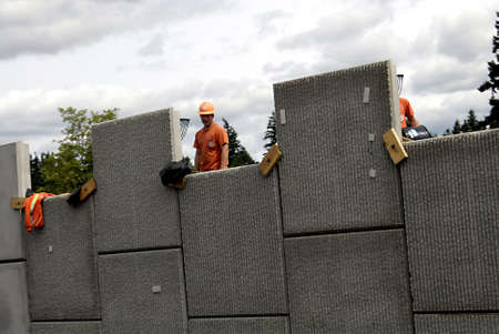 polictics: VANCOURVERWASHINGTON STATE USA _  Ameerican road constructions workers 29 May 2012