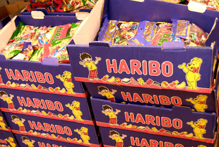 candes: COPENHAGENDENMARK _ Haribo candes and sweets at Netto chain supermarket 2 July 2012