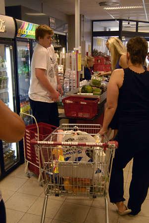 fakta: KASTRUPCOPENHAGENDENMARK _  Food and beverage  shopperat Fakta food super market 8 July 2012          Editorial