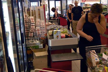 fakta: KASTRUPCOPENHAGENDENMARK _  Food and beverage  shopperat Fakta food super market 8 July 2012