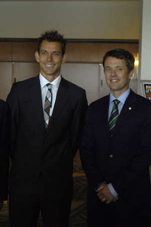 frederik: COPENHAGENDENMARK _Denmarks crown prince Frederik arriives at Official opening og the International Tennis Federation General meeting to at Hotel Marriott, and greets Interntional Tennis Federation president Francisco Ricci Bifgi and danish branc of ten