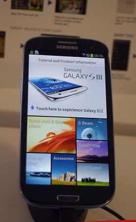samsung: COPENHAGENDENMARK _   New Samsung Galaxy III smartphone on sale at telia swedish telephone shop 1 August 2012