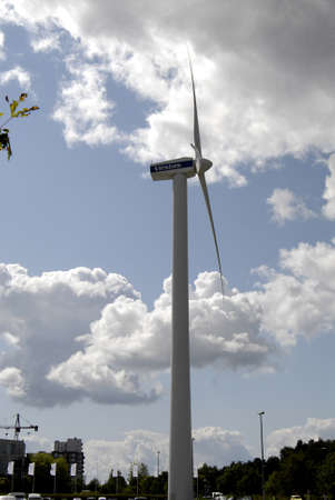 vestas: COPENHAGENDENMARK _Vestas windturbine  dane uses wind trubine engery been use energy at Bella Center  9 August 2012          Editorial