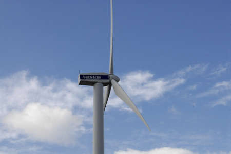 vestas: COPENHAGENDENMARK _Vestas windturbine  dane uses wind trubine engery been use energy at Bella Center  9 August 2012