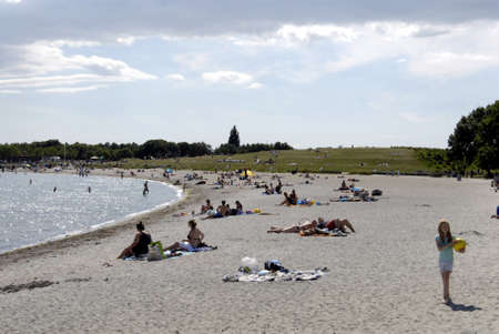sun bathers: COPENHAGENDENMARK _Travel and tourism and pleasure sun bather life and transport at Amager beach and Amagaer strand park beach Kastrup 12 August 2012
