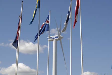 vestas: COPENHAGENDENMARK _  Nordic flags and behind vestas tribune at Bella Center 11 August 2012        Editorial