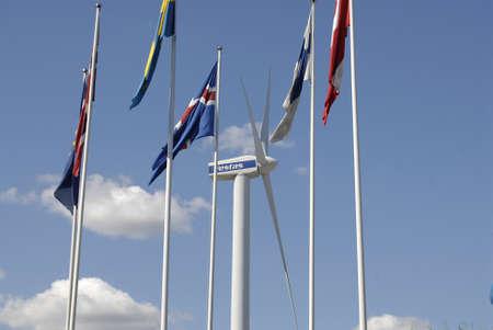 vestas: COPENHAGENDENMARK _  Nordic flags and behind vestas tribune at Bella Center 11 August 2012        Editorial