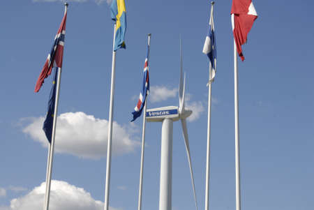 vestas: COPENHAGENDENMARK _  Nordic flags and behind vestas tribune at Bella Center 11 August 2012