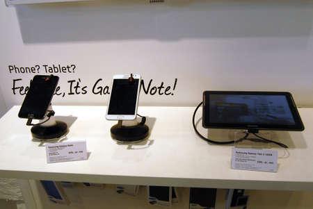 COPENHAGEN/DENMARK _  Both american Ipahone 4 smartphone and South korean Samsung Galaxy SIII do sell in Copenahgen by TDC Teledanmark cabple stores in Copenhagen Denmark27 August 2012        Stock Photo - 14985773