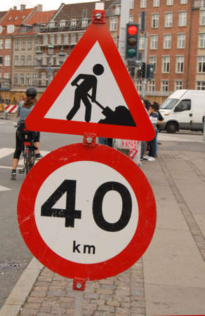 COPENHAGEN/DENMARK _ Road constructions sign and 40 kilometer speed limit for auto drivers 28 August 2012        Stock Photo - 14986211