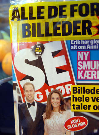 prince of denmark: COPENHAGENDENMARK _  Danish Se & H?Se & Hoer)magazine ahs published Prince William and Prince Kate toplose pictures in their recent issue and magazine is on news stand in Denmark magazine editor refued to being photograph with magazine SE&Hoer today  20