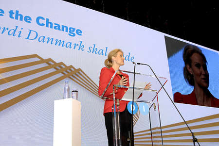 be the change: COPENHAGENDENMARK _Be The Change- Denmarks female prime minister Ms.Helle Thorning-Scmidt, social democrat and collection government arrives and been asked TV and media people about her visit to DITOP MEETING2012 ,Danish industryannaul meeting with dan